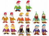 image of dwarf  - 7 different dwarves seen from the front and side all of them with a beard - JPG