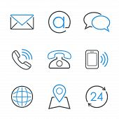 Contacts simple vector icon set poster