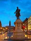 stock photo of freedom tower  - Freedom Square with monument of King Peter IV in Porto - JPG