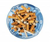 picture of butts  - Cigarette butts in the ashtray isolated on white - JPG