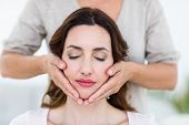 pic of reiki  - Woman getting reiki therapy on white background - JPG