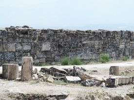 pic of artemis  - Columns and ruins of ancient Artemis temple in Hierapolis Turkey - JPG