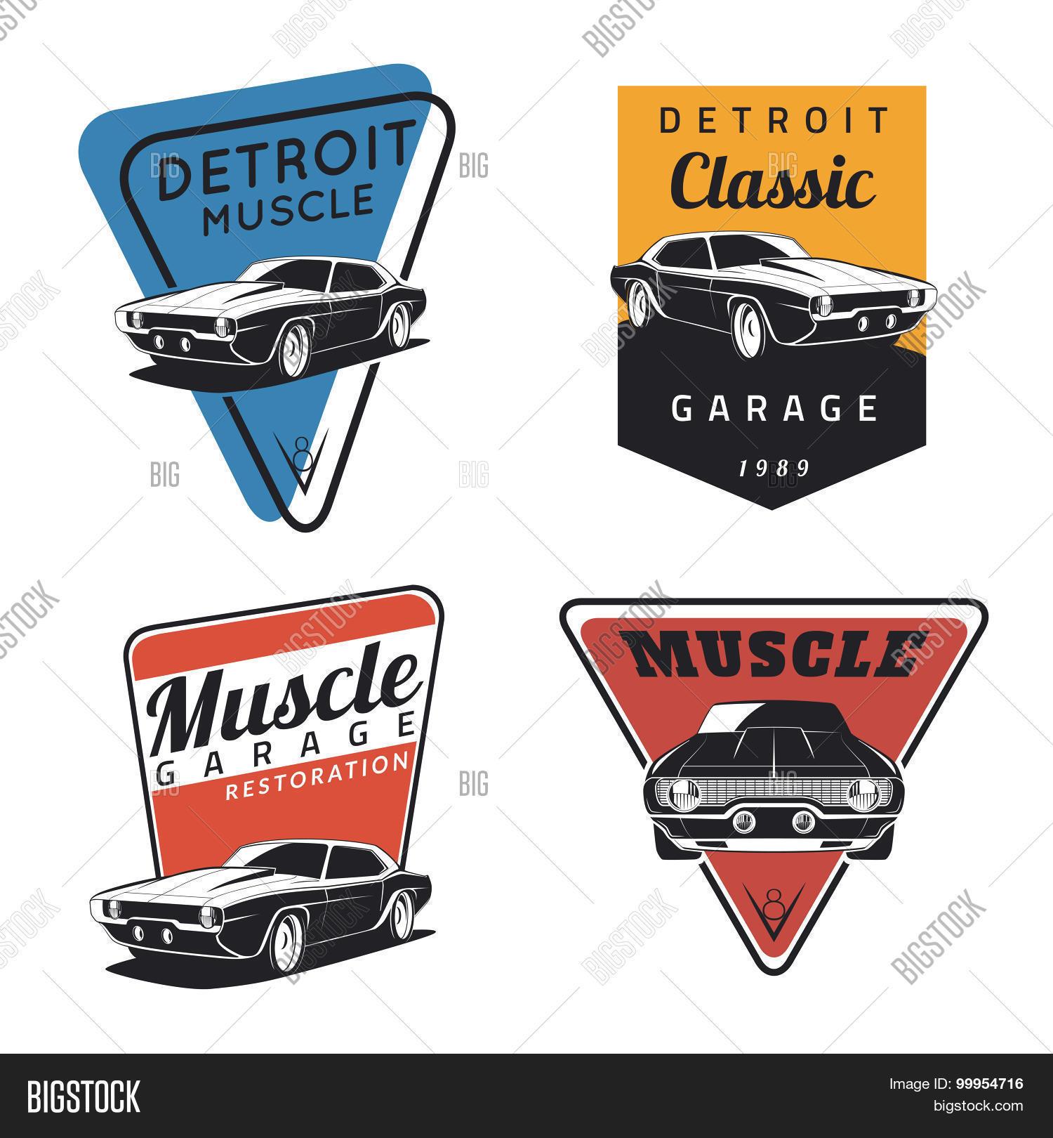 Classic muscle car emblems Stock Vector & Stock Photos ...