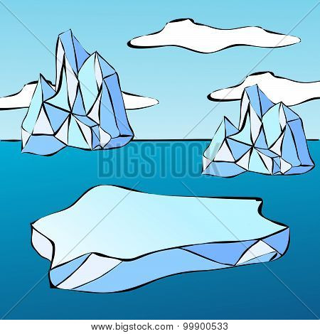 Ice Floe And Iceberg