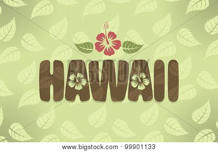Vector illustration of Hawaii with hibiscus flowers in vintage colors