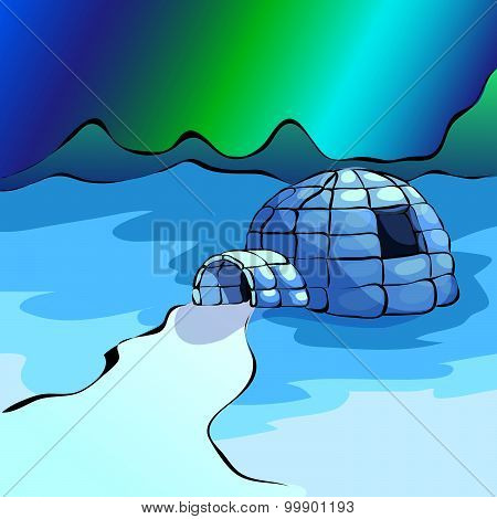 Ice Yurt Igloo And Nothern Lights