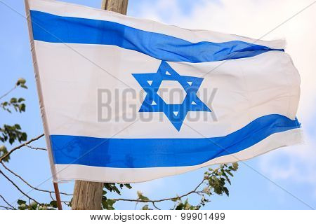 Big Flag Of Israel Over The Sky