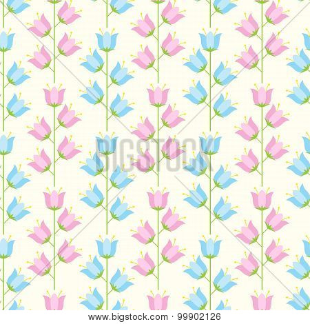 Floral Seamless Pattern Of Pastel Blue And Pink Colored Bellflowers.