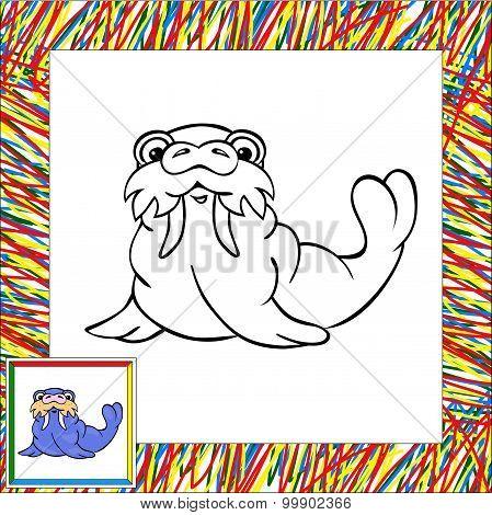 Cartoon Walrus Coloring Book With Border