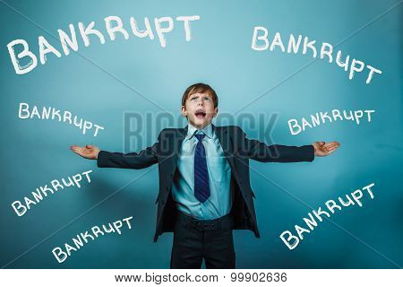 Teenage boy failure bankrupt businessman arms outstretched looki