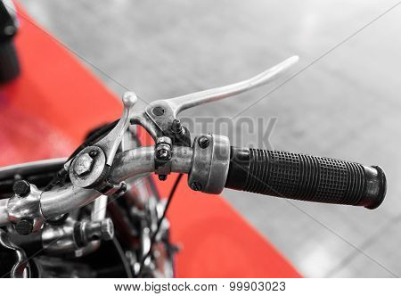 Vintage Motorcycle With Gear Lever On The Handlebar