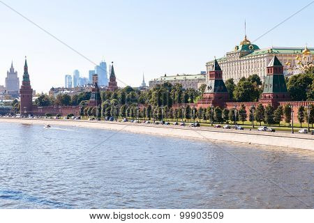 View Of The Kremlin Embankment In Summer Afternoon