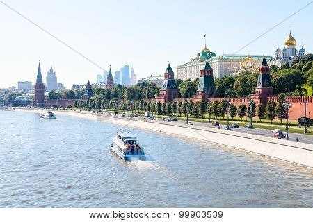 Boats In Moskva River Near Kremlin Embankment