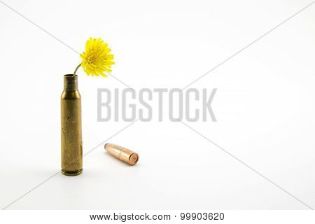 Shotgun Shell With Yellow Flower