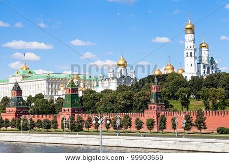 Cathedrals And State Palace In Moscow Kremlin