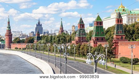 Panoramic View Of The Kremlin Embankment In Moscow