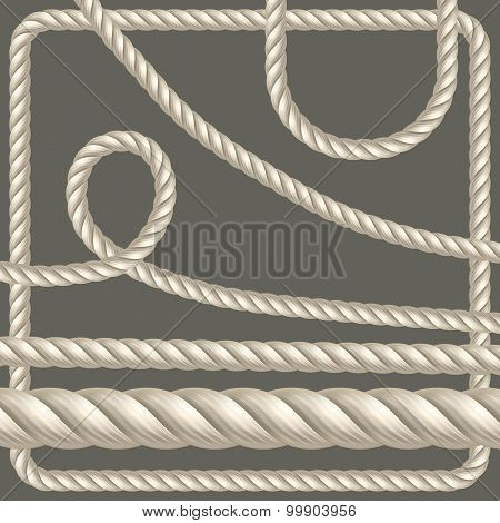Twisted Rope Of Different Shapes. Vector