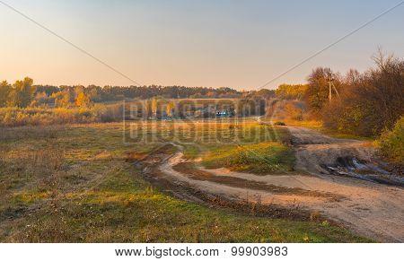 Landscape in rural village at fall season Sumskaya oblast Ukrane