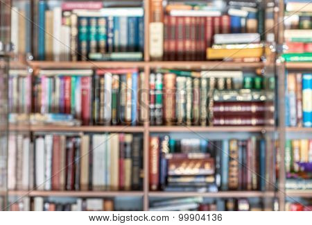Blurred Background From Books At Bookracks