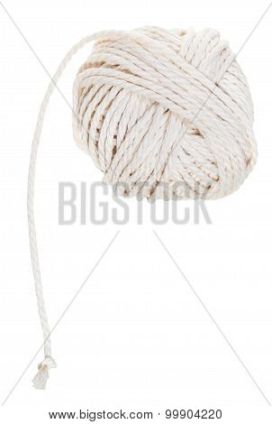 White Ball Of Cotton Rope Isolated