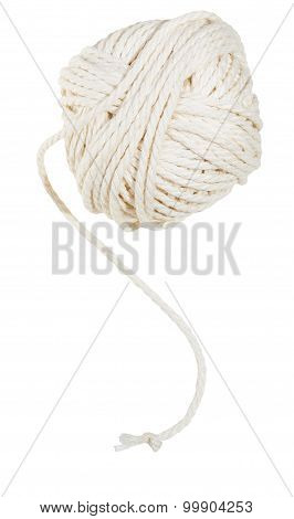 White Clew Of Cotton Thread Isolated
