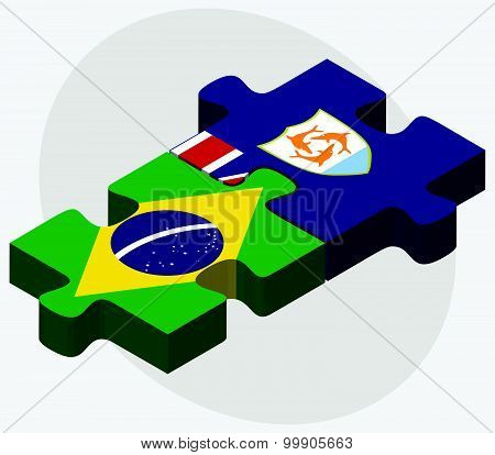 Brazil And Anguilla Flags