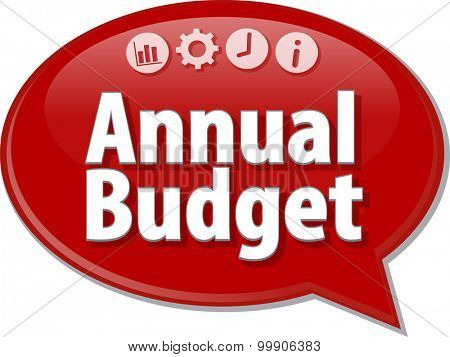 Speech bubble dialog illustration of business term saying Annual budget