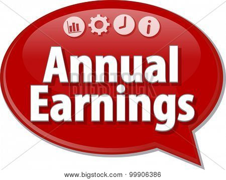 Speech bubble dialog illustration of business term saying Annual earnings