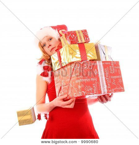 Miss Santa Is Loosing One Golden Gift Box