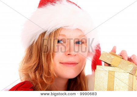 Miss Santa Is Opening A Golden Gift Box