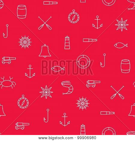 Marine Line Icons Seamless Vector Pattern