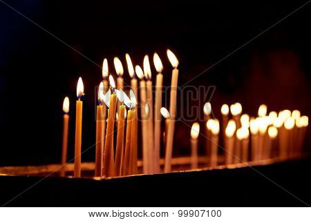 Candles In The Holy Sepulchre Church In Jerusalem