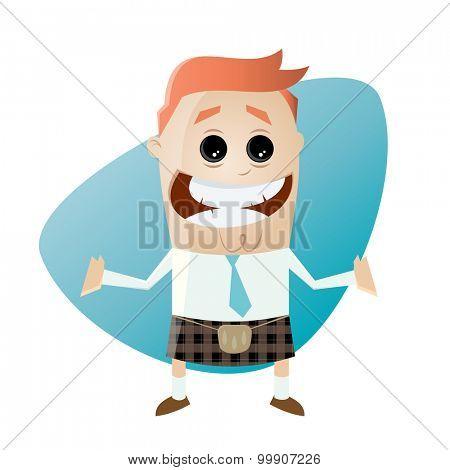 funny cartoon businessman in kilt