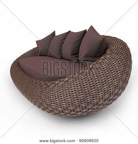 Contemporary rattan sofa