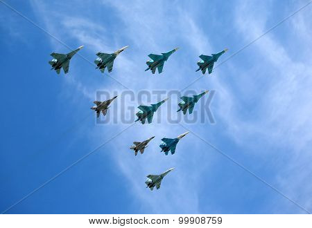 Russian military aircraft fighters SU-27 and MIG-29 in flight against blue sky