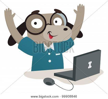 Nerd Dog Using A Computer