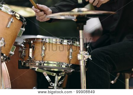 detail of a drummer on the rock concert, selective focus