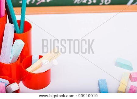 Colorful Stationary On White Sheet Of Paper