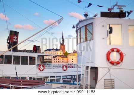 Traditional ferry steamer in Gamla stan, Stockholm, Sweden.