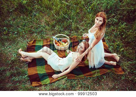 Two Sexy Women Are Drinking Wone On The Picnic.