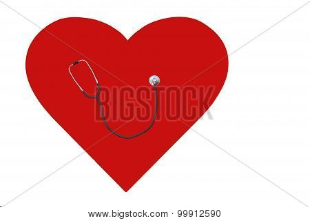 Stethoscope on the heart
