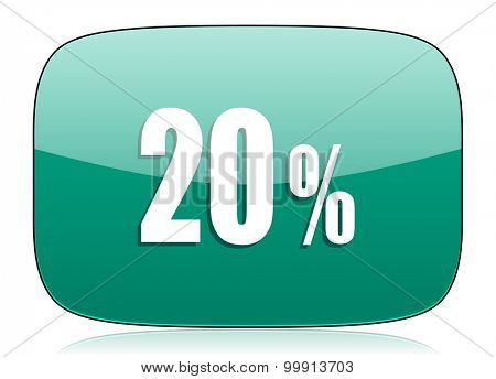 20 percent green icon sale sign