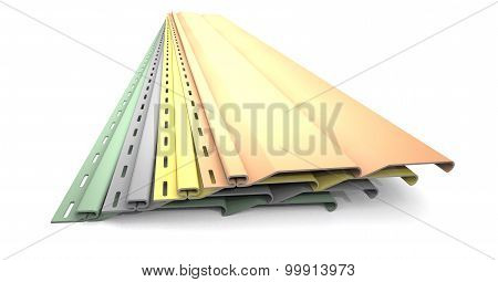 Plastic Siding Panels Of Different Colors.