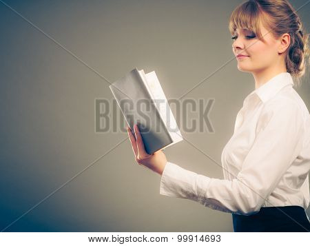 Woman Learning Reading Book. Education Leisure.