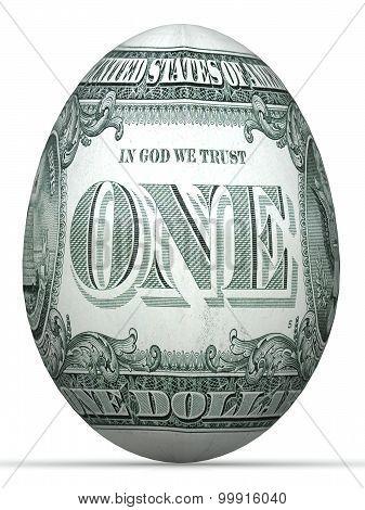 1 dollar back side banknote in shape of egg.