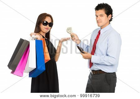 Asian Woman Shopper Accepting Money Husband At H