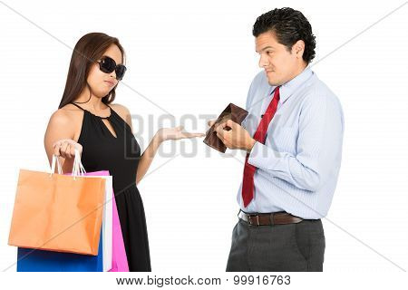 Wife Demanding No Money Poor Husband Shopping H