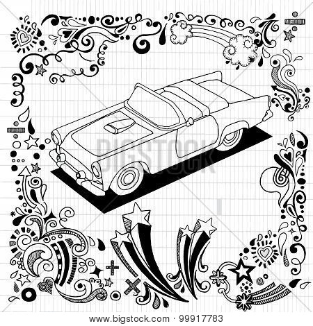 Hand Drawing  Vintage Car With Ornamental