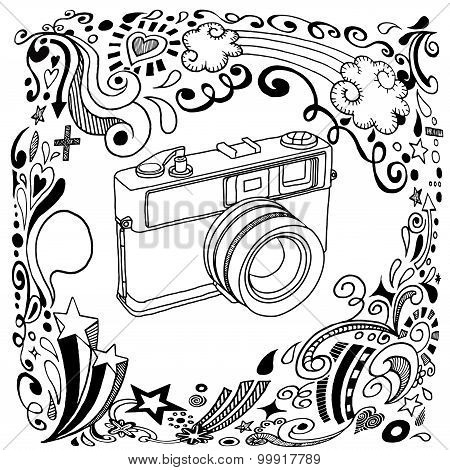 Hand Drawing  Vintage Camera With Ornamental