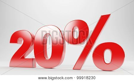 20% discount as red text for sale offer (3D Rendering)